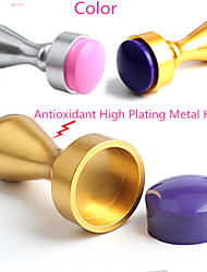 1Pcs Nail Art Printing Tools Metal Nail Seal Gold Silver Stamp Seals