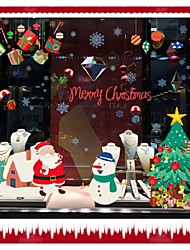 9706 Snowman Christmas Trees Gifts Wall Stickers Home Decor Living Room Decoration Stickers Santa Claus Decals