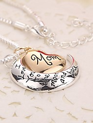 New Arrival Heart Moon Love Mom Alloy Pendant Necklace