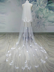 Wedding Veil Two-tier Chapel Veils / Cathedral Veils Cut Edge Tulle White / Beige