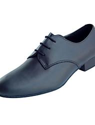 Non Customizable Men's Dance Shoes Latin / Modern / Swing Shoes / Salsa / Samba  / Synthetic Cuban Heel Black / Ivory