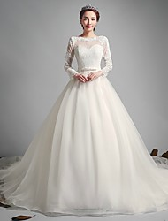 A-line Wedding Dress Court Train Jewel Tulle with Sash / Ribbon / Bow / Lace
