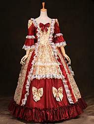 Steampunk®Top Sale Red Long Sleeves Satin Classic Victorian Dress Printing Royal Medium Cospaly Long Party Dresses