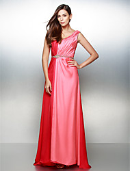 Formal Evening Dress - Multi-color A-line V-neck Sweep/Brush Train Satin Chiffon