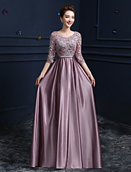 Sheath/Column Mother of the Bride Dress - Lilac Floor-length Lace / Satin
