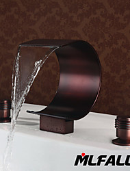 Mlfalls Brands Brass Finish Oil-Rubbed Bronze Large Waterfall Deck Mounted Bathroom Basin Faucets