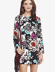 TVB   Women's Print Multi-color Dresses , Bodycon / Casual / Party Round Long Sleeve