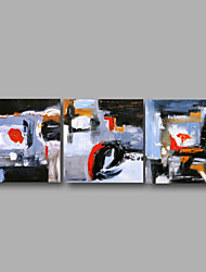 "Ready to Hang Stretched Hand-Painted Oil Painting 72""x24"" Three Panels Canvas Wall Art Modern Abstract Red Grey Black"