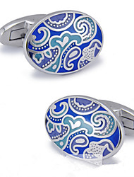 Fashion Copper Men Gift Jewelry Silver Plated Blue Enamel Clouds Shirt Button Cufflinks(1Pair)