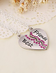 Heart Love Best Friends Alloy Pendant Necklace(2pcs/set)