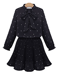 Fashion Plus Sizes Women Casual Loose Plus Size Dot Bow Long Sleeve Elastic Waist Chiffon Dress