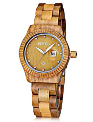 Mens Watches Bewell Women Japan Diamond Quartz Watch with Date Function Wood Band Gear Case Wrist Watch Cool Watch Unique Watch
