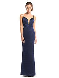 ts Couture® gaine de robe de soirée / colonne bretelles spaghetti-parole longueur satin avec des perles / cross criss