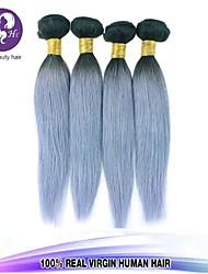 Pelo 4pcs / lot brasileño virginal paquetes armadura del pelo recto del pelo humano plata canas brasileño teje