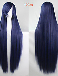 Fashion Color Cartoon Wig 100 CM Navy Blue Long Straight Hair Wigs