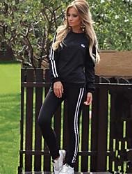 Activewear Set Femme Sportif Rayé Col Arrondi Non Elastique Polyester Manches Longues Automne