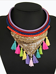 Europe and America Exaggeration Popular Brief Paragraph Bohemia National Wind Mesh Cloth Tassel Necklace KE21455