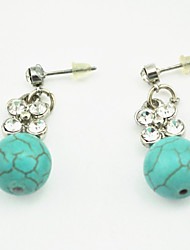 Vintage Look Antique Silver Plated Turquoise Stone Beads Cz Crystal Drop Dangle Earring(1Pair)