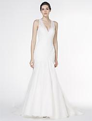 Lanting Bride Trumpet/Mermaid Wedding Dress-Court Train V-neck Lace