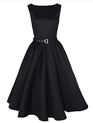 Women's Plus Size Scoop Collar Sleeveless Midi Swing Vintage Dress