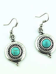 Vintage Look Antique Silver Plated Alloy Round Turquoise Stone Drop Dangle Earring(1Pair)