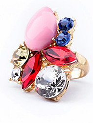 European Style Alloy Colorful Crystal Water Drop Ring