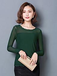 Spring Women's Sexy Gauze Splice Slim Round Neck Long Sleeve Plus Size T-shirt  Blouse Tops