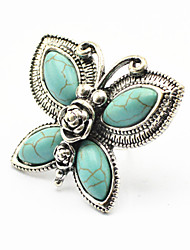 Vintage Look Antique Silver Plated Butterfly Turquoise Stone Adjustable Free Size Ring(1PC)