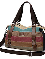 Women Canvas Duffel Shoulder Bag / Tote / Satchel / Sports & Leisure Bag / Travel Bag - Multi-color