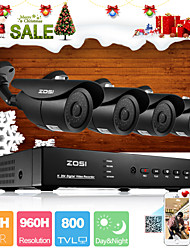 ZOSI® 4 Channel H.264 HDMI Realtime 960H DVR 800TVL Night Vision 120ft Outdoor CCTV Camera Security System