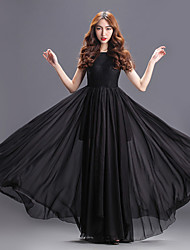 Floor-length Chiffon Bridesmaid Dress - Black A-line Square