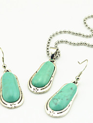 Vintage Look Antique Silver Turquoise Lava Rock Stone Volcano Necklace Earring Jewelry Set(1Set)