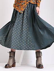De las mujeres Faldas - Midi Vintage Rígido - Algodón