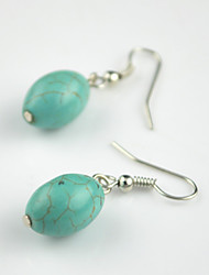 Vintage Look Antique Silver Plated Oval Turquoise Alloy Dangle Drop Earring(1Pair)