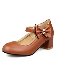 Girls' Shoes Outdoor / Party & Evening / Athletic / Dress / Casual Round Toe Leatherette Heels Black / Brown / White