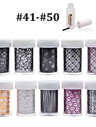 New 100Designs Nail Art Transfer Foil Paper 10pcs + 1pcs Nail Foil Glue (from #41 to #50)