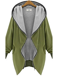 Women's V Neck Zipper Plus Size Hooded Cardigan Coat
