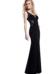 Women's Party Solid Trumpet/Mermaid Dress , Deep V Maxi Others