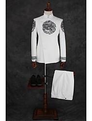 Costumes Coupe Standard Col Mandarin Droit à plusieurs boutons Mélange de Coton Motifs 2 Pièces Ivoire Poche à Soufflet Double (Deux)