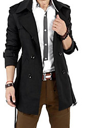 Masculino Trench Coat Médio Cor Solida Acrílico Manga Comprida Masculino