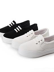 Ballerines ( Cuir , Noir / Blanc ) Talon plat - 0-3cm pour Chaussures femme