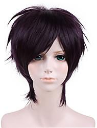 14inch  Gin Tama-Takasugi Shinsuke Dark Purple Anime Cosplay Wig QY-035