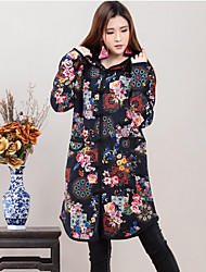 Women's Print Black Trench Coat , Casual Long Sleeve Cotton
