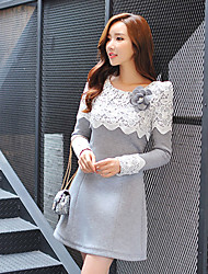 Women's Lace Gray Dress , Work Round Neck Long Sleeve