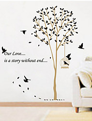 Black Leaves Birds Wall Stickers