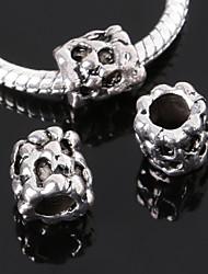 Beadia 10Pcs Large Hole Beads 9x8mm Tube Alloy European Beads 4mm Hole Antique Silver Plated