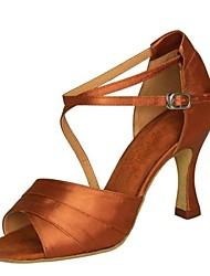 Non Customizable Women's Dance Shoes Latin / Swing/Salsa/Samba Satin / Leatherette Chunky HeelBlack/Brown/Red/Silver