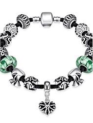 Elegant Women's Celadon Ware Rhinestones Glass Silver Plated Tin Alloy Charm Bracelet(Green)(1Pc)