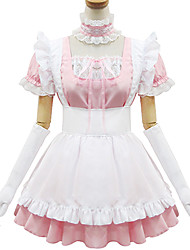 Pink and White Polyester Maid Costume Type4