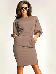 sexy trabalho das mulheres partido bonito mais tamanhos micro elástica ½ comprimento do vestido na altura do joelho manga (algodão)